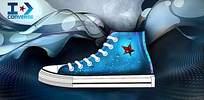 蓝色匡威布鞋海报