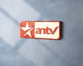 長方形五角星橙色圖文logo墻面立體展示
