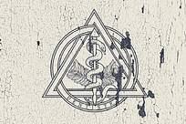 复古手绘墙画logo样机