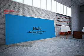 工业风展厅会客墙边宣传展板展示样机