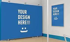 蓝色简洁风格展厅墙面布置展示样机