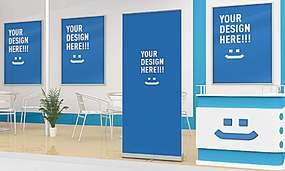 蓝色简洁展厅吧台广告展板墙面布置展示样机