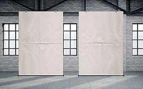室内展厅两幅悬挂海报正面展示样机