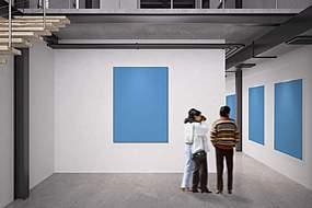 展览展厅墙面多幅广告牌画框展示样机