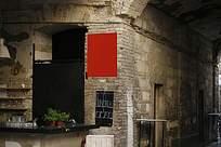 怀旧咖啡酒馆吧台公示牌贴图样机