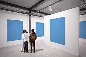 展厅里的海报空白模板设计