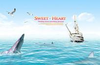 保护海洋生物公益海报
