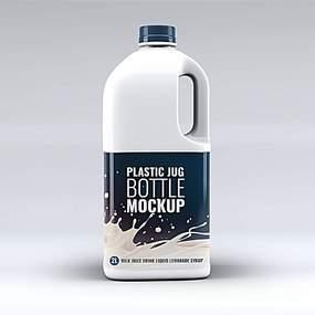 牛奶包装瓶贴图样机