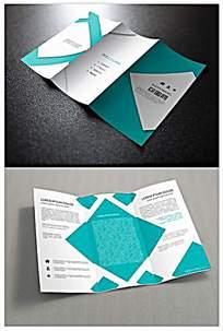 清新蓝色商务企业宣传企业介绍三折页宣传单AI模板