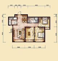 两室一厅平面户型图