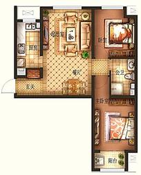 两室一厅平面户型图设计