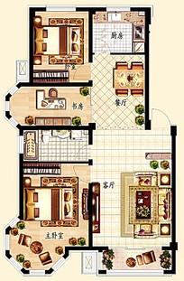两室一厅手绘平面户型图模板