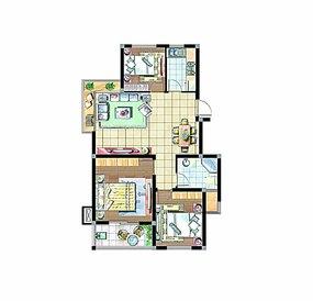 三房一厅户型图模板