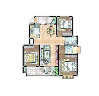 三房一厅手绘户型图
