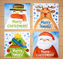 4款水彩绘圣诞节卡片矢量素材