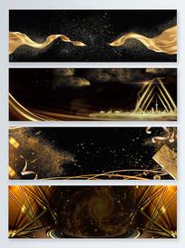 金色丝带粒子漩涡动感黑金背景