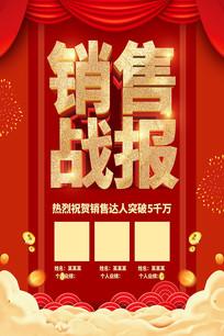 红色喜庆年终销售战报海报