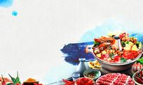 火锅美食背景宣传海报