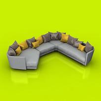 弯角组合沙发模型